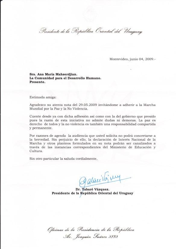 Carta de adhesión del Presidente de Uruguay